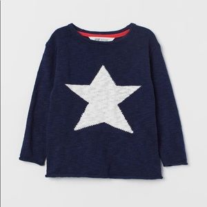 NWT H&M Dark Blue White Star Knit Sweater 4-6Y